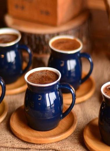 Bambum Selam 2 Kişilik Kahve Fincan Takımı Mavi Mavi